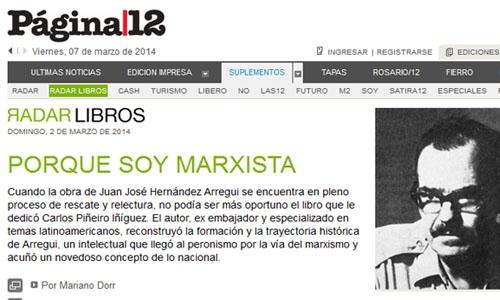 (07/03/2014) Reseña de Hernández Arregui.Una interpretación marxista del peronismo en el suplemento Radar Libros