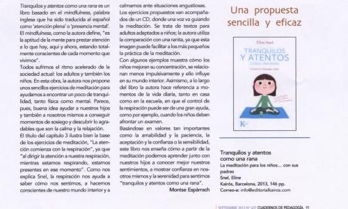 (07/10/2014) Tranquilos y Atentos en Cuadernos de Pedagogía