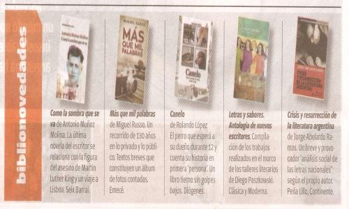 (15/02/2015) Crisis y resurrección de la literatura argentina en Tiempo Argentino