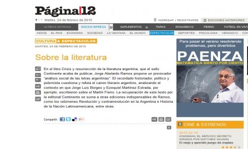 (24/02/2015) Crisis y resurrección de la literatura argentina en Página/12