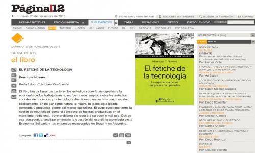 (22/11/2015) El fetiche de la tecnología en Cash de Página/12