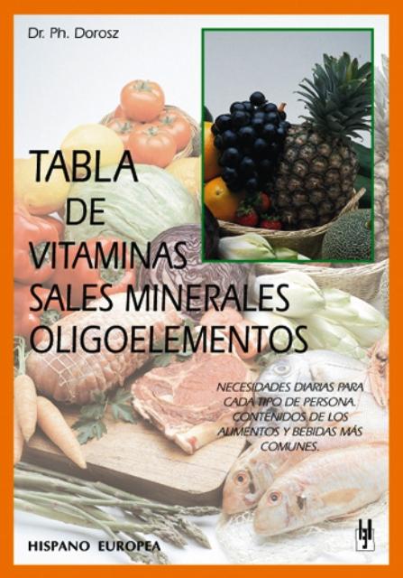 TABLA DE VITAMINAS , SALES MINERALES Y OLIGOELEMENTOS