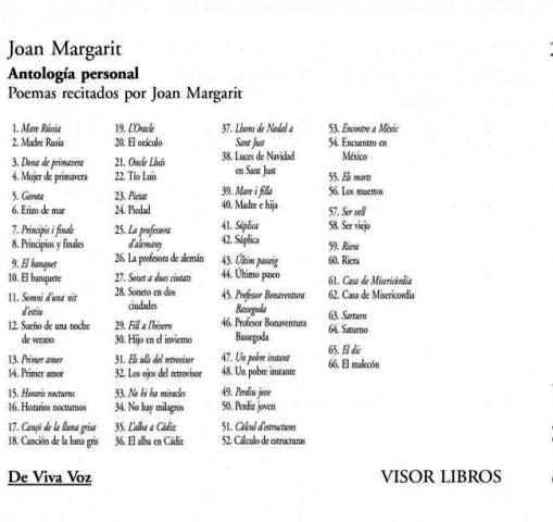 ANTOLOGIA PERSONAL ( MARGARIT JOAN ) ED. BILINGUE (C/ CD)